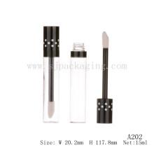 A202 botella transparente de 15ml forma redonda Tubo vacío tubo lipgloss con botella de recarga