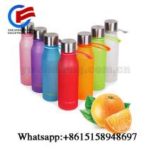 BPA botella de plástico gratis color caramelo irrompible deporte botella de agua al aire libre con correa a prueba de fugas deporte amplia boca
