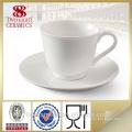 Tasse et tasse de café blanc ordinaire peu coûteuse en stock pour vente en gros