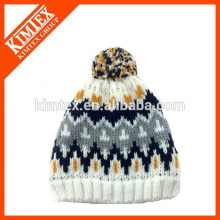 Winter New Arrival Unisex Iceland Jacquard Knitting Hat With Pom Pom