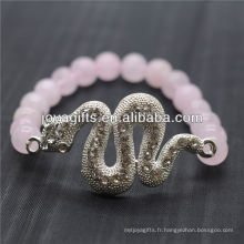 Vente en gros de pierres naturelles à quartz rose avec bracelet en argent et serpent diamant