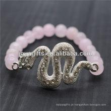Atacado Natural Gemstone Rose Quartz Com Prata Diamante Serpente Pulseira