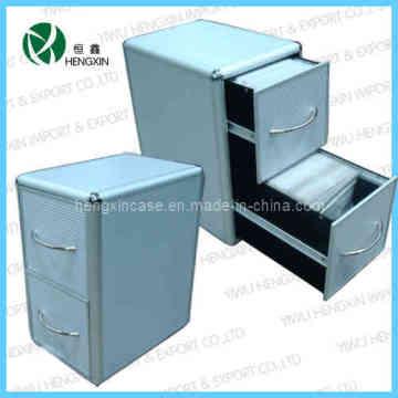 Caja de aluminio del marco 2 cajones de CD y caja y gabinete (HX-P1386-2)