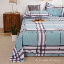 Wholesale Market Bedsheet Fashion Style Cotton Brushed Fabric Powder Blue Plaid Full Bedding Set