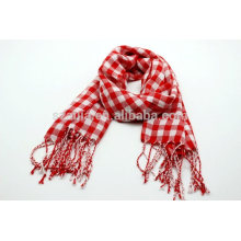 Moda damas rojo algodón tartán palid bufandas