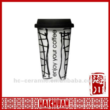 11 oz porcelain travel coffee mug with silicone lid, eco cup