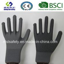 Polyester-Shell-PVC-Punkte Sicherheits-Arbeitshandschuh
