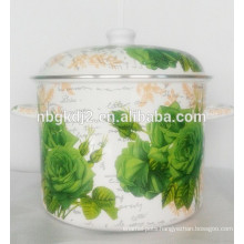 Carbon steel ename lcoating high quality stock pot with full decal and pp knob