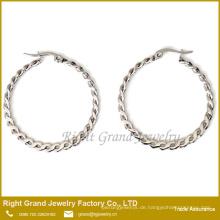 Benutzerdefinierte Größe Twisted beste Ort, um Ohrringe Online White Gold Hoop Klappring Ring Ohrringe zu kaufen