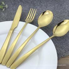 Talheres de aço inoxidável colheres garfos facas talheres de ouro conjunto conjunto de talheres