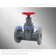 Válvula de globo de plástico PVC FF JIS 10K