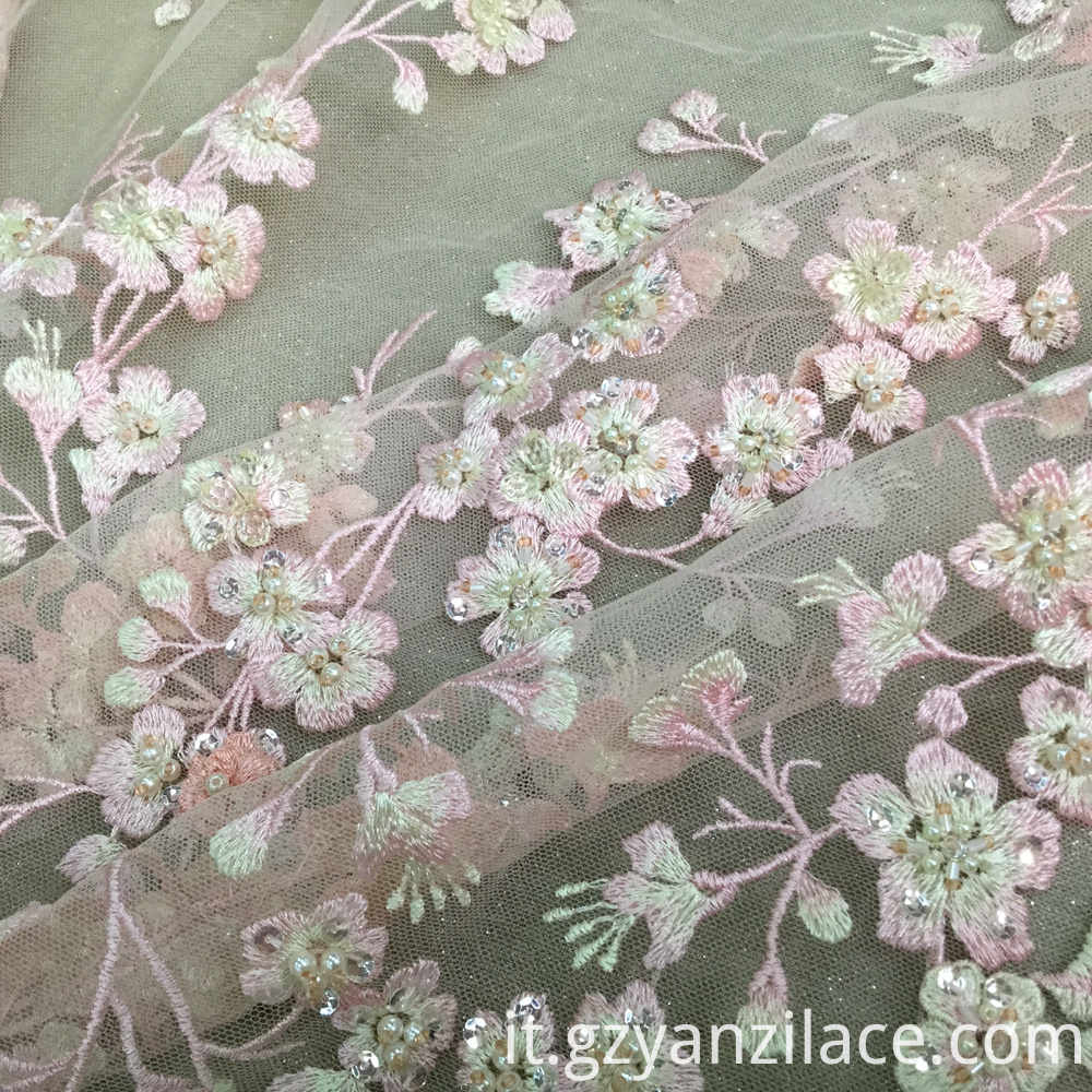 Pink Lace Fabric Beaded Embroidery Handmade Fabric