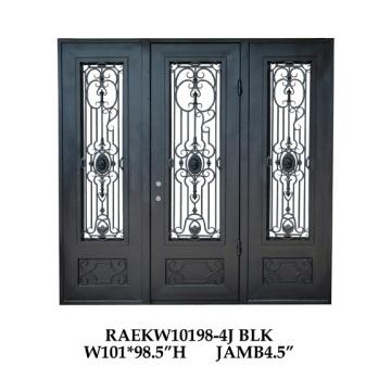 Decorative interior doors with iron