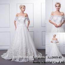 KB2015-43 Sparkling Appliqued Spitze A-Linie weiße Brautkleider Off-Schulter Brautkleid Vintage Style Brautkleider 2016