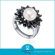 Rhodium überzogene Sterlingsilber-Perlen-Ring-Entwürfe (SH-R0519-2)