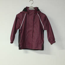 Dark Wine PU Reflective Rain Jacket for Children/Baby