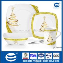 square porcelain flatware set royal golden dinner flat plates with bowl and mug set