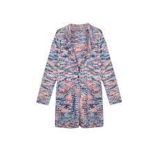 Women's Knitted Neps Yarn Buttoned Fluffy Chunky Cardigan