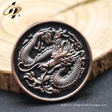 Antique 3D dragon embossé des broches d'embrayage papillon personnalisé pour la vente en gros