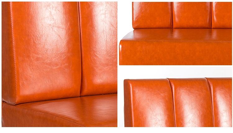 Red Leather Wood Club Furnitures Sofabooth