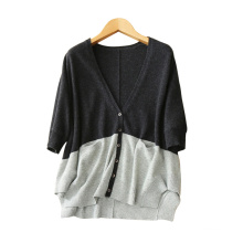 Contrast color cardigan for women 2017 new style cashmere cardigans with three quarter batwing sleeves single breasted