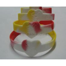 Segmented Colors Bracelet with Debossed Logo