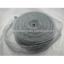Silberne Reinigungswäscherrolle, Metall-Scourer, Mesh-Scourer verzinkte Mesh-Rolle