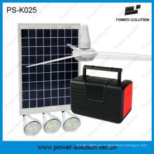 Ventilador solar de 12V en sistema de panel solar 10W con 3 luces LED y carga de teléfono móvil