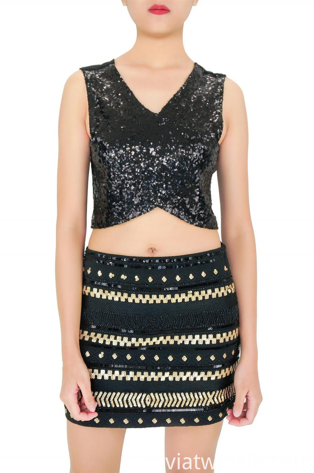 Black Fashion Sequin Skirt