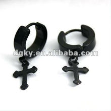 Black plated cross hoop earring pendant ear jewelry
