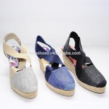 2015 завод прямой Оптовые новые стиль высокого качества джутовой печати обувь espadrille
