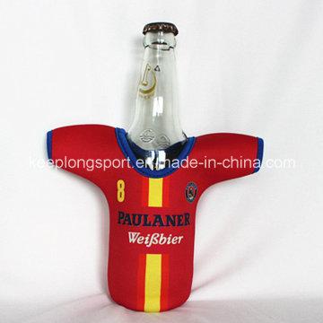 Nuevo diseño personalizado neopreno titular de la botella con la forma de la camiseta