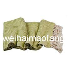 100%Cotton Throw/Fringed Cotton Blanket/Organic Cotton Throw