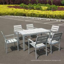 Jardin patio en plastique meubles en bois en plein air