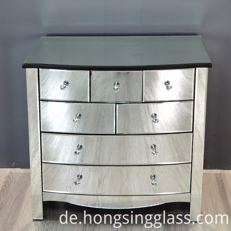 curved mirror 8 drawer chest