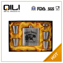 6oz wholesale stainless steel hip flask gift set for Christmas