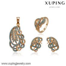 64185 xuping 18k oro cobre moda pendiente de gota de cobre pendiente conjunto de joyas