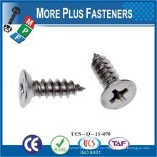 Hecho en Taiwán tornillo autorroscante para phillips de aluminio cabeza csk tapping tornillo