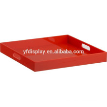 Rote Farbe Acryl Carrying Serving Tray mit Griffen