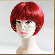 Short Bob Red Wine Color Hair Can Dye Lace Front Silk Top Synthetic Wig