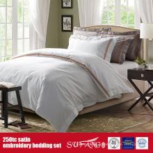 Linge de luxe de broderie de satin de coton du lit 250TC de qualité pour des hôtels