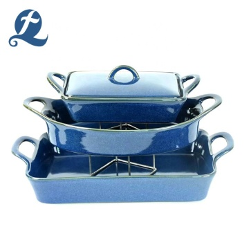 Hot Sale farbige Glasur Keramik Backgeschirr Set mit Doppelgriff