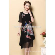 Vestuário personalizado para senhoras de verão vestido bordado manga curta para mulheres