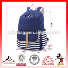 Mochila escolar de lona mochila con rayas lindo portátil para adolescentes niños niñas estudiantes