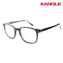 Fashion metal glasses stainless steel optical frames with acetate temple wholesale custom brand