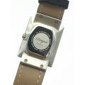 Rectangulaire Day Date Автоматический серебряный циферблат Черные кожаные часы