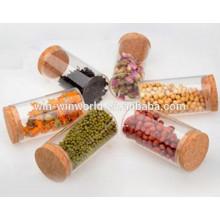 Tarro antiadherente de almacenamiento de vidrio del envase del aceite de cera antiadherente con la tapa del corcho
