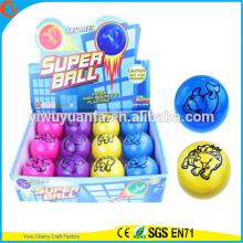 Juguete de alta Qulity Kid LED caucho 75 mm animal impreso Flashing Bouncy Ball aire