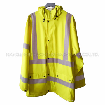 Yellow Safety PU Raincoat for Adult