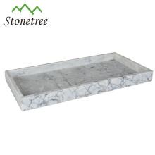 100% Natrual Marble Vanity Tray 16 x 8 Inch